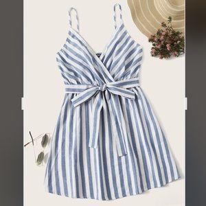 Striped belted cami mini dress